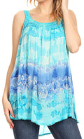 Sakkas Lidia Women's Casual Loose Batik Tie Dye Sleeveless Tank Top Blouse Tunic#color_19231-Turquoise