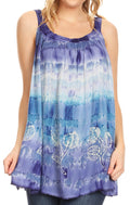 Sakkas Lidia Women's Casual Loose Batik Tie Dye Sleeveless Tank Top Blouse Tunic#color_19231-Violet