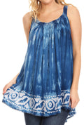 Sakkas Lidia Women's Casual Loose Batik Tie Dye Sleeveless Tank Top Blouse Tunic#color_Blue