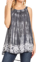Sakkas Lidia Women's Casual Loose Batik Tie Dye Sleeveless Tank Top Blouse Tunic#color_C-2