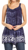 Sakkas Lidia Women's Casual Loose Batik Tie Dye Sleeveless Tank Top Blouse Tunic#color_Navy