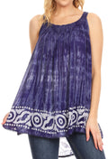 Sakkas Lidia Women's Casual Loose Batik Tie Dye Sleeveless Tank Top Blouse Tunic#color_Purple