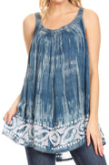 Sakkas Lidia Women's Casual Loose Batik Tie Dye Sleeveless Tank Top Blouse Tunic#color_Teal