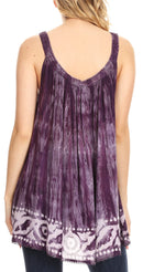 Sakkas Lidia Women's Casual Loose Batik Tie Dye Sleeveless Tank Top Blouse Tunic