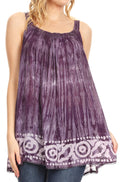 Sakkas Lidia Women's Casual Loose Batik Tie Dye Sleeveless Tank Top Blouse Tunic#color_Violet