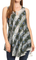 Sakkas Mai Women's Casual Swing Sleeveless Loose Tie Dye Tunic Tank Top #color_19235-Olive