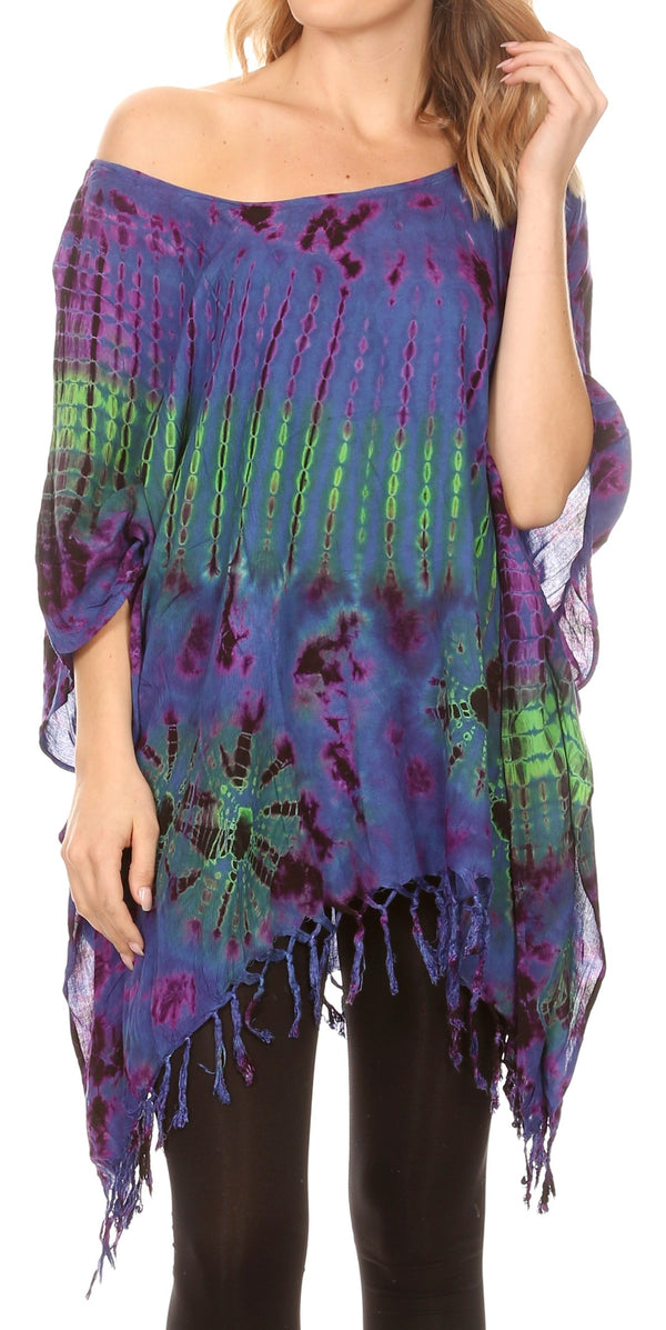 Sakkas Geno Round Neck Casual Boho Short Sleeve Loose Blouse Top Cover-up w/Fringe#color_Blue