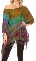Sakkas Geno Round Neck Casual Boho Short Sleeve Loose Blouse Top Cover-up w/Fringe#color_Green