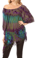 Sakkas Geno Round Neck Casual Boho Short Sleeve Loose Blouse Top Cover-up w/Fringe#color_Olive