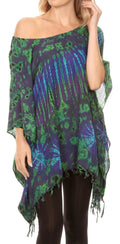 Sakkas Geno Round Neck Casual Boho Short Sleeve Loose Blouse Top Cover-up w/Fringe#color_Purple