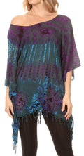 Sakkas Geno Round Neck Casual Boho Short Sleeve Loose Blouse Top Cover-up w/Fringe#color_Teal