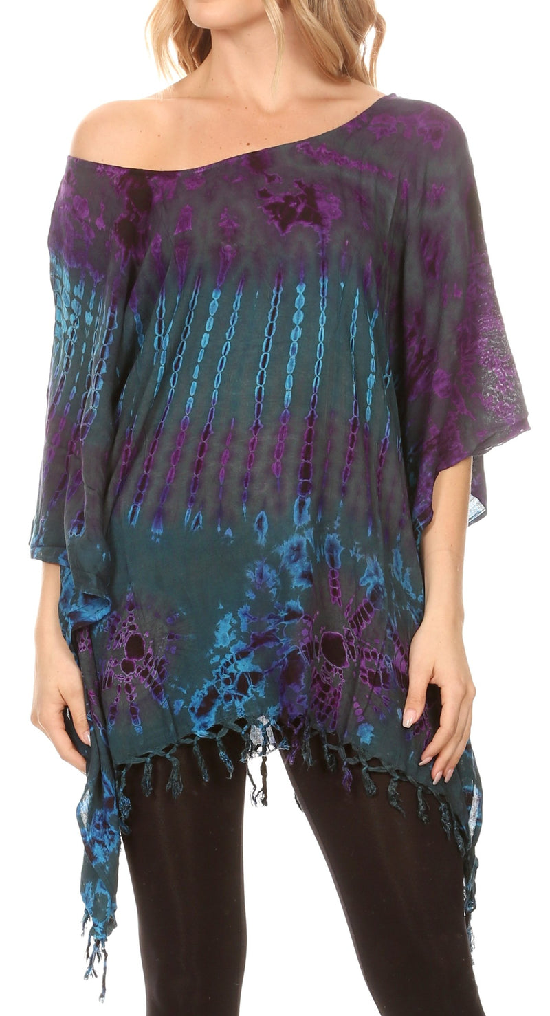 Sakkas Geno Round Neck Casual Boho Short Sleeve Loose Blouse Top Cover-up w/Fringe