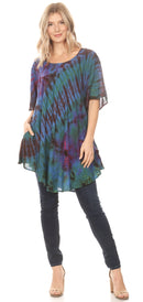 Sakkas Yara Women's Casual Loose Oversize Short Sleeve Scoop Neck Blouse Top Tunic