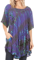 Sakkas Yara Women's Casual Loose Oversize Short Sleeve Scoop Neck Blouse Top Tunic#color_Purple