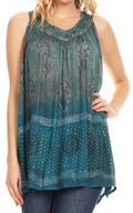 Sakkas Mina Women's Casual Loose Ombre Tie Dye Sleeveless Tank Top Tunic Blouse#color_19525-C1