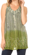 Sakkas Mina Women's Casual Loose Ombre Tie Dye Sleeveless Tank Top Tunic Blouse#color_19526-Green