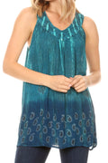 Sakkas Mina Women's Casual Loose Ombre Tie Dye Sleeveless Tank Top Tunic Blouse#color_19526-Turquoise