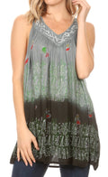 Sakkas Mina Women's Casual Loose Ombre Tie Dye Sleeveless Tank Top Tunic Blouse#color_19527-Black