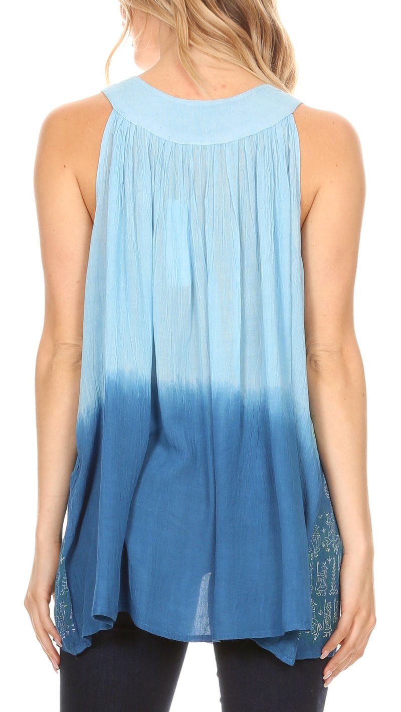 Sakkas Mina Women's Casual Loose Ombre Tie Dye Sleeveless Tank Top Tunic Blouse