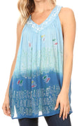 Sakkas Mina Women's Casual Loose Ombre Tie Dye Sleeveless Tank Top Tunic Blouse#color_19527-Blue