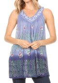 Sakkas Mina Women's Casual Loose Ombre Tie Dye Sleeveless Tank Top Tunic Blouse#color_19527-Navy