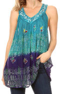 Sakkas Mina Women's Casual Loose Ombre Tie Dye Sleeveless Tank Top Tunic Blouse#color_19527-NavyTurquoise