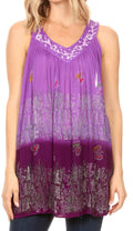 Sakkas Mina Women's Casual Loose Ombre Tie Dye Sleeveless Tank Top Tunic Blouse#color_19527-Purple