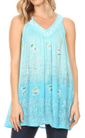 Sakkas Mina Women's Casual Loose Ombre Tie Dye Sleeveless Tank Top Tunic Blouse#color_19527-Turquoise