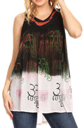 Sakkas Mina Women's Casual Loose Ombre Tie Dye Sleeveless Tank Top Tunic Blouse#color_C-4