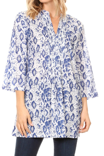 group-19917-Snakewhite (Sakkas Ona Women's Casual Summer Cotton 3/4 Sleeve Print Loose Tunic Top Blouse)
