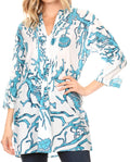 Sakkas Ona Women's Casual Summer Cotton 3/4 Sleeve Print Loose Tunic Top Blouse#color_Teal