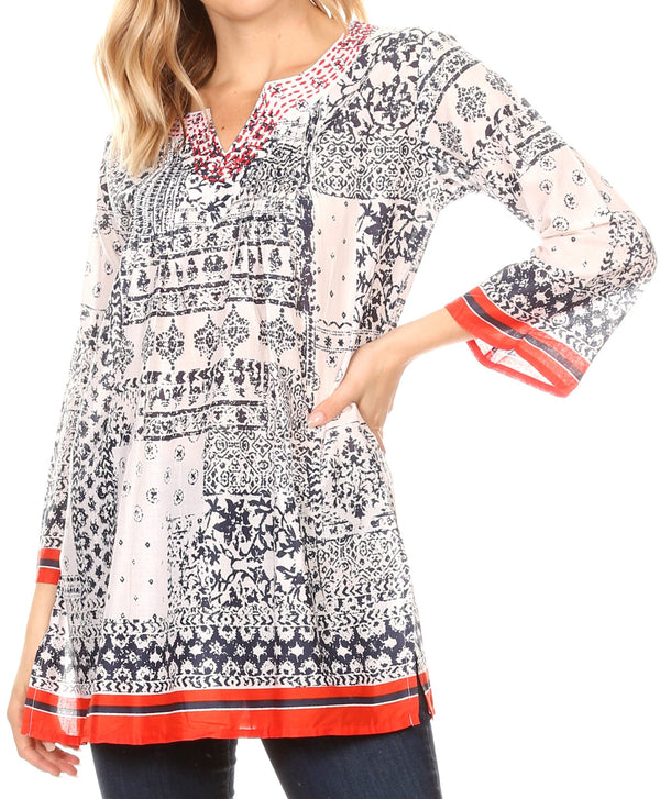 Sakkas Sasa Women's Casual Summer Cotton 3/4 Sleeve Print Loose Tunic Top Blouse#color_19918-NavyWhite