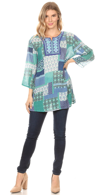 group-19923-blue (Sakkas Matia Women's Casual Summer Cotton Long Sleeve Print Loose Tunic Top Blouse)
