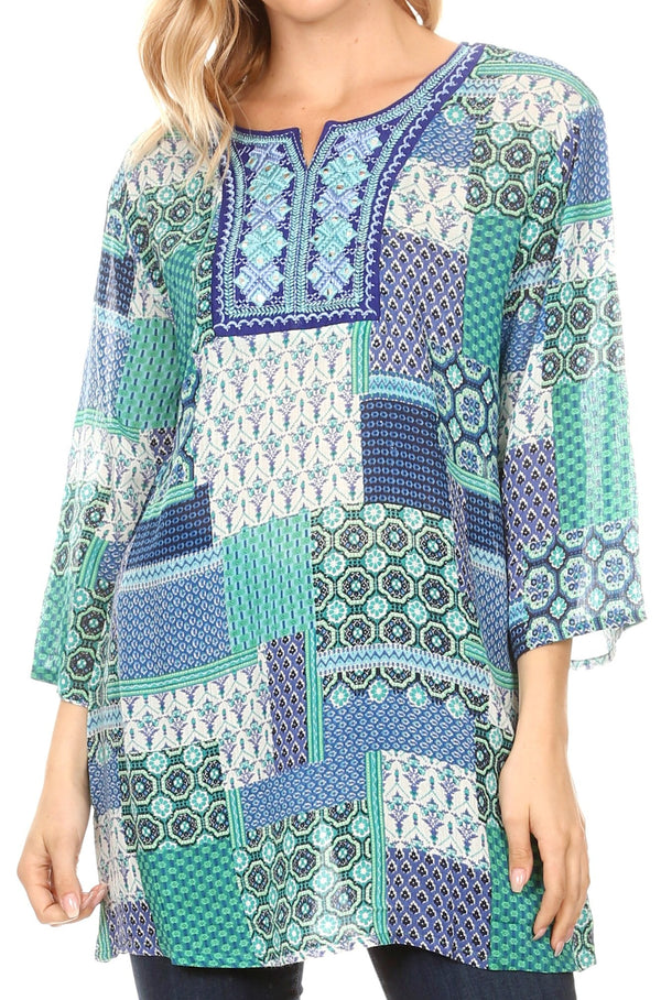Sakkas Matia Women's Casual Summer Cotton Long Sleeve Print Loose Tunic Top Blouse#color_19923-blue