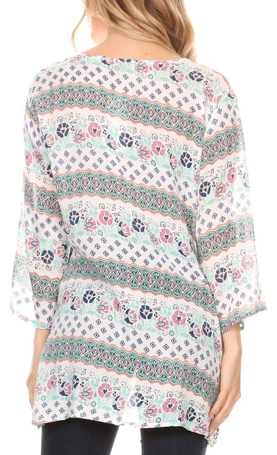 group-19924-pink (Sakkas Matia Women's Casual Summer Cotton Long Sleeve Print Loose Tunic Top Blouse)