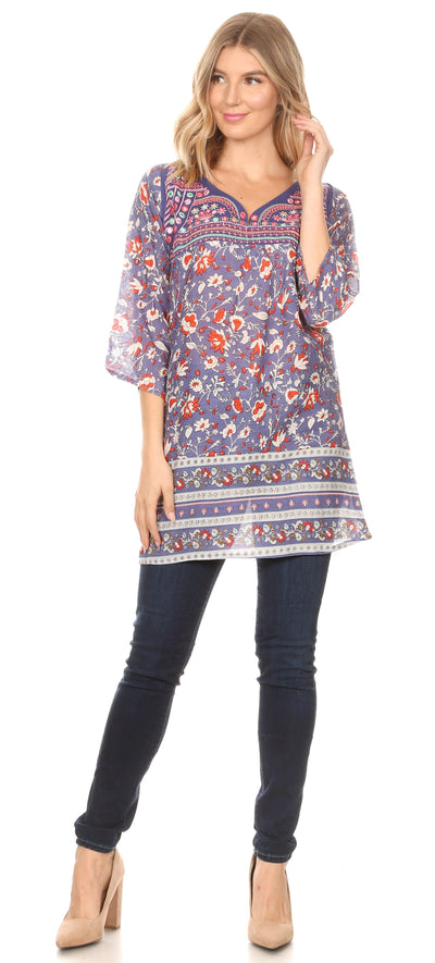 group-Blue (Sakkas Matia Women's Casual Summer Cotton Long Sleeve Print Loose Tunic Top Blouse)