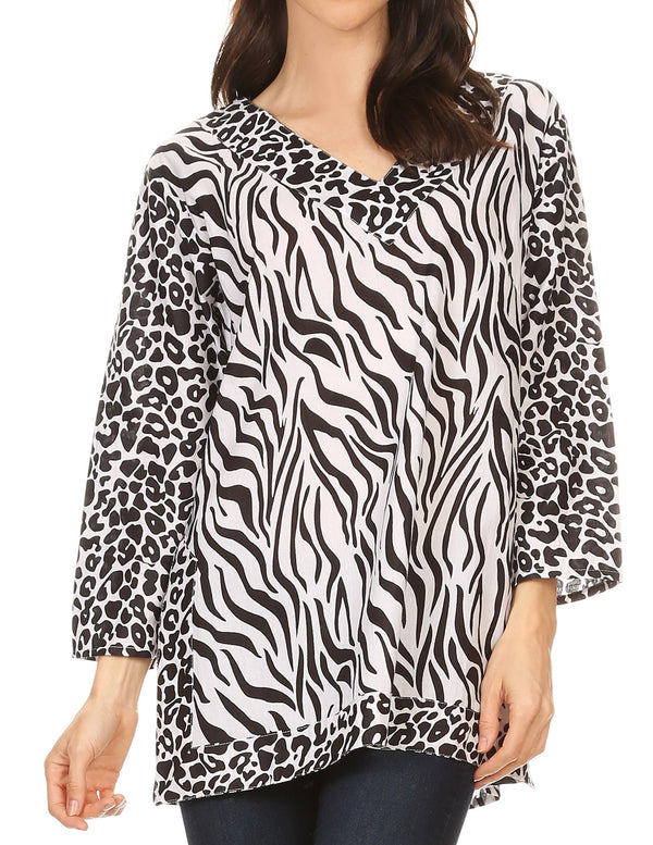 Sakkas Lucie Long Sleeve Printed V-neck Blouse Top Tunic#color_White / Black