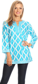 Sakkas Ida Fresh Casual Rayon Paisley Tunic Blouse Top with 3/4 Sleeve
