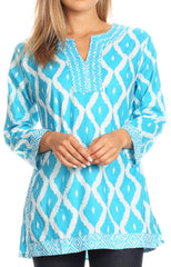 Sakkas Ida Fresh Casual Cotton Paisley Tunic Blouse Top with 3/4 Sleeve