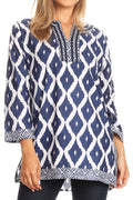 Sakkas Ida Fresh Casual Rayon Paisley Tunic Blouse Top with 3/4 Sleeve#color_Blue