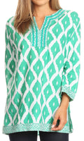 Sakkas Ida Fresh Casual Rayon Paisley Tunic Blouse Top with 3/4 Sleeve#color_Green