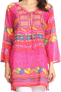 Sakkas Carina Tie Front 3/4 Sleeve Tunic with Cross Stitch Embroidery#color_Pink