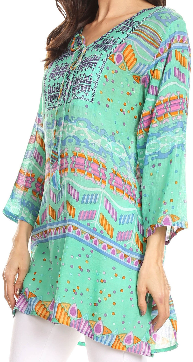 Sakkas Carina Tie Front 3/4 Sleeve Tunic with Cross Stitch Embroidery