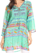 Sakkas Carina Tie Front 3/4 Sleeve Tunic with Cross Stitch Embroidery#color_Sea Green