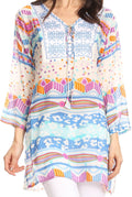 Sakkas Carina Tie Front 3/4 Sleeve Tunic with Cross Stitch Embroidery#color_White