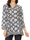 Sakkas Assia Damask Floral Long Sleeve Blouse Tunic#color_Blue