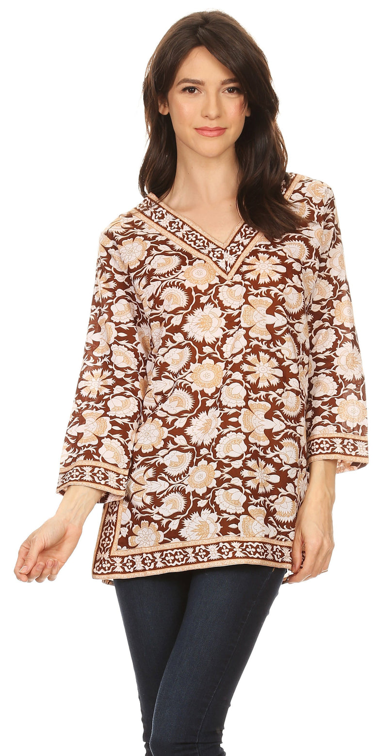 Sakkas Assia Damask Floral Long Sleeve Blouse Tunic
