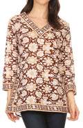 Sakkas Assia Damask Floral Long Sleeve Blouse Tunic#color_Brown