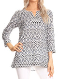 Sakkas Oana 3/4 Sleeve Split Neck Tribal Print Tunic#color_Grey