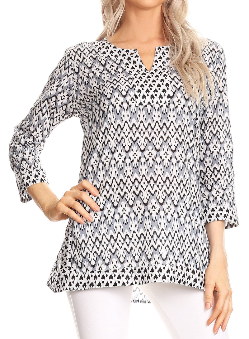 Sakkas Oana 3/4 Sleeve Split Neck Tribal Print Tunic